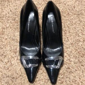 BCBG High Heels Black with silver buckle size 6B